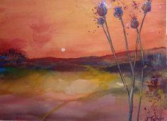 Watercolour by Sonya Tatham Poppy Heads