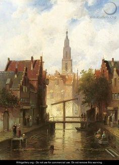 A view of a town with figures by a drawbridge - Charles Henri Leickert