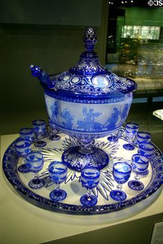 French Baccarat Punch Bowl set (dated from Displayed at Paris World's Fair of 1867 Now on display at The Corning Museum of Glass. My favourite colour: Blue Baccarat Crystal, Crystal Glassware, Blue And White China, New Blue, Cut Glass, Glass Art, Cobalt Glass, Cobalt Blue, Antique Glassware