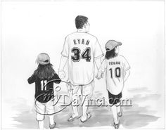 An ink drawing of Daddy and his favorite sports fans. His man cave decor can't get much better than this!