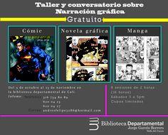 """Volante para """"taller & conversatorio sobre narración gráfica"""", para la biblioteca departamental de Cali, a señora: Angela María Aristizaval."""
