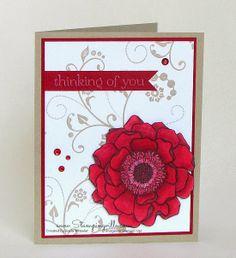 Cherry Cobbler Blended Bloom Card | Stampingville #cardmaking #rubberstamping #StampinUp