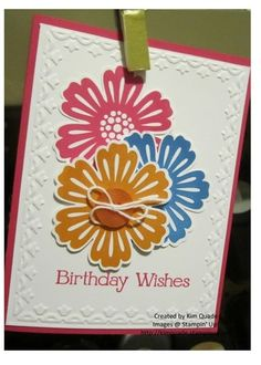 Stampin Up Mixed Flower stamp set and blossom punch. Birthday card.