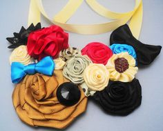 Ribbon Flower Bib Necklace  Gold and black hand by FredGinger, $20.00
