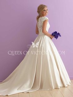 ivory satin lace bodice cap sleeves ball gown wedding dress