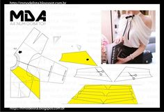 Portuguese site with illustration showing how to draft this lovely sleeve using a standard bodice & sleeve sloper Diy Clothing, Sewing Clothes, Clothing Patterns, Sewing Patterns, Pattern Cutting, Pattern Making, Top Pattern, Pattern Design, Modelista