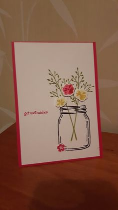 Get Well Soon card, Stampin Up Jar of Love stamp set and framelits, Teeny Tiny Sentiments stamp set, Melon Mambo cardstock