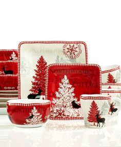 222 Fifth Northwood Cottage 16-Pc. Set, Service for 4 - Dinnerware - Dining & Entertaining - Macy's