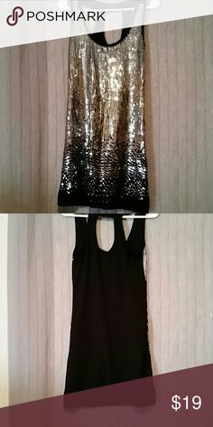 Rue 21 dress size small Excellent condition sequin dress size small black with silver sequins 65% polyester 30% rayon 5% spandex with the lining that is 100% polyester Rue 21 Dresses