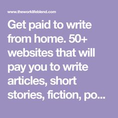 Get paid to write from home. websites that will pay you to write articles, short stories, fiction, poetry, features and articles from home. The Sun Magazine, 100 Words, Writing Jobs, Earn Money From Home, Article Writing, Self Publishing, Extra Money, Short Stories, Nonfiction