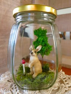 Rabbit in a Jar Rabbit, Felt, Jar, Animals, Etsy, Bunny, Rabbits, Felting, Animales