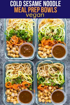 These cold sesame noodle meal prep bowls are the perfect vegan prep ahead lunch: spiralized vegetables tossed with chickpeas and whole wheat spaghetti in a spicy almond butter sauce. Vegetarian Meal Prep, Lunch Meal Prep, Meal Prep Bowls, Easy Meal Prep, Vegetarian Recipes Easy, Healthy Meal Prep, Lunch Recipes, Healthy Recipes, Keto Recipes