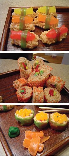 With gooey Rice Krispies Treats® and sweet candy, this yummy sushi-themed snack is kid-friendly and perfect for a fun birthday party game.