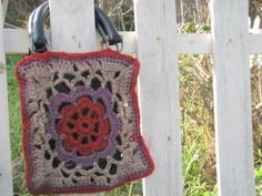 FREE shipping  red and purple crocheted purse with by royaboya, $48.00