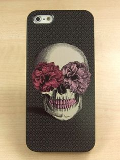 iphone 5 case skull with two flower Hard iphone 5 by AliceStudioHK, $11.99
