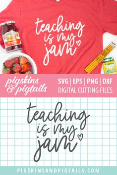 """""""Teaching is my Jam"""" design for making t-shirts, bags or signs for teacher appreciation week. Create your own jam themed gift with this SVG file. Instant download. #svg #cricut"""
