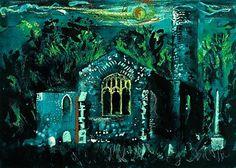 John Piper, Hautbois Church, Norfolk (E. England), screenprint on paper, x 44 cm. Artist's proof for edition of Environment Painting, Built Environment, Edward Hopper, John Piper Artist, Building Painting, Cityscape Art, Original Art For Sale, Cool Artwork, Landscape Art