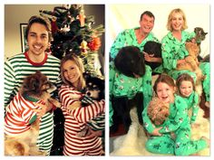 Celebrities Wearing Matching Family Pajamas - Kristen Bell & Dax Shephard and their dogs, Rebecca Romijn & Jerry O'Connell & their twin daughters & dogs | MomMeMatch.com