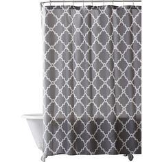 Liven up your master bath or guest powder room display with this chic shower curtain, showcasing a trellis pattern perfect for a preppy or country-chic aesthetic.