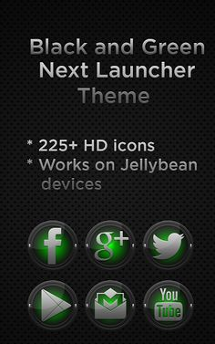 Next Launcher Black Green v1.0 (Android Theme)
