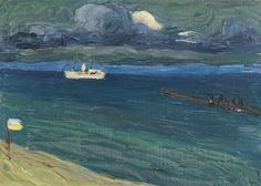 Available for sale from Galerie Thomas, Wassily Kandinsky, Rapallo - Seascape with Steamer Oil on canvas, 22 × cm Wassily Kandinsky, Positano, Bauhaus, Monet, Canvas Artwork, Oil On Canvas, Catalogue Raisonne, Museum, Art Abstrait