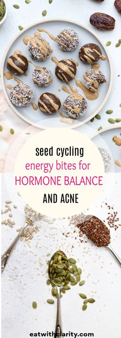Energy Bites for Clear Skin : Seed cycling for hormone balance is a safe and natural method of rotating seeds at different times of your menstrual cycle to support hormone production, detoxification, and elimination. Foods To Balance Hormones, Balance Hormones Naturally, Low Carb Diets, Leaky Gut, Hormone Diet, Seed Cycling, Pcos Diet, Hormone Balancing, Energy Bites