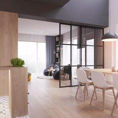 Zona relax in un angolo del salotto scandinavo - casa moderna