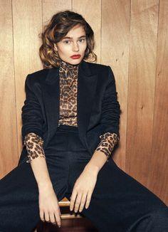 Leopard print turtleneck, black blazer, and black pants