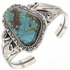 Turquoise Ladies Handmade Cuff Navajo Silver Bracelet