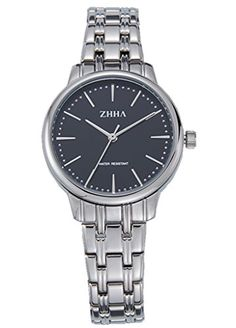 ZHHA 068 Womens Watch Quartz Black Dial Silver Stainless Steel Waterproof Watch * To view further for this item, visit the image link. (Note:Amazon affiliate link)
