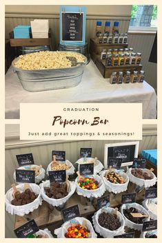 There are many great food bar ideas for parties. Hosting a popcorn bar is a great idea for graduation parties. There are many great food bar ideas for parties. Hosting a popcorn bar is a great idea for graduation parties. 13th Birthday Parties, Birthday Party For Teens, Sweet 16 Birthday, Grad Parties, Parties Food, Bday Party Ideas, Outdoor Graduation Parties, 12th Birthday, Birthday Ideas