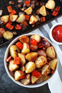 Roasted Breakfast Potatoes Recipe on twopeasandtheirpod.com These easy and crispy breakfast potatoes are roasted in the oven and SO good! They are a great side dish to any breakfast!