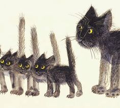 Cute painting or sketch of black scaredy cat mom and kittens with their tails stuck up. Josef Wilkon