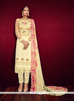 Latest Embroidered Work Cream Georgette Pant Style Suit Model: YOS7640