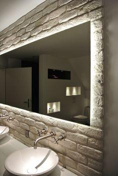 Production of custom made bathroom mirrors incl. Installation in Dresden, Pirna, Görlitz, Chemnitz, Bathroom Mirror Lights, Home Decor Mirrors, Bathroom Lighting, Minimalist Interior, Minimalist Bedroom, Minimalist Home, Scandinavian Bathroom, Scandinavian Interior Design, Luz Natural