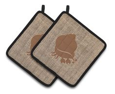 Hermit Crab Faux Burlap and Brown Pair of Pot Holders BB1102-BL-BN-PTHD