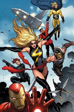 The Mighty Avengers by Frank Cho. This Iron Man's pro-registration team formed during the superhuman civil war.