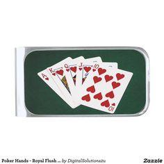 Poker Hands - Royal Flush - Hearts Suit Silver Finish Money Clip