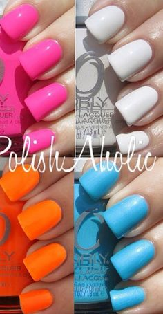 Bright pink, bright blue, bright orange and crisp white - MY TOP SUMMER NAIL SHADES (+ neons, mint, lilac &!corals/peaches)