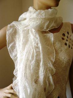 Handmade White Nuno felt scarf by FeltDress on Etsy, $50.00
