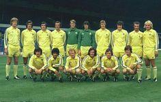 The great Leeds United squad with the famous all yellow away kit by Admiral Sports UK in 1975/76