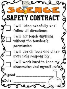 science safety contract elementary - Google Search