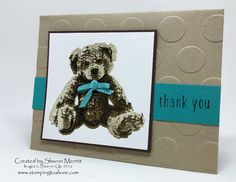 Sharon Merritt created this card for our Stamping to Share Demo Swap. #stampingtoshare, Stampin' Up!, Baby Bear Stamp Set, thank you card, Baby Card