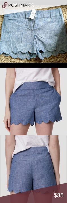 Loft Denim Scalloped Shorts Never worn, loft denim scalloped shorts LOFT Shorts Jean Shorts