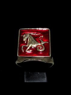 high quality hand polished with dark red enamel dimension of the top: 17 mm x 17 mm Zodiac Rings, Bronze Ring, Signet Ring, Sagittarius, Dark Red, Class Ring, Shot Glass, Costume, Jewelry