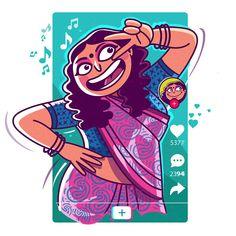 Freelance Illustrator Journey of Satish Gangaiah - Creative Gaga Indian Illustration, Funny Illustration, Portrait Illustration, Character Illustration, Graphic Design Illustration, Character Art, Character Design, Abstract Face Art, Funny Paintings