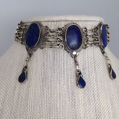 "Afghan Turkmen kuchi Tribal lapis lazuli Choker necklace from Afghanistan 16""  #watangems"