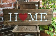 HOME with Red Heart Reclaimed Wood Sign I Love Home by elhdesign77