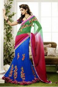 Georgette and Net   Lehenga Saree In Green and Blue Colour