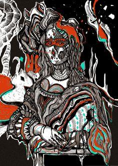 La Gioconda byAndonastY. Topliner negro y color digital